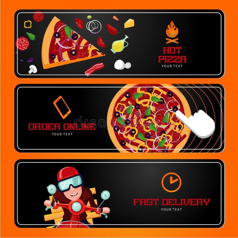 pizza włoskiej Online rozkaz i dostawa Horyzontalni wektorowi sztandary Kreskówka styl royalty ilustracja