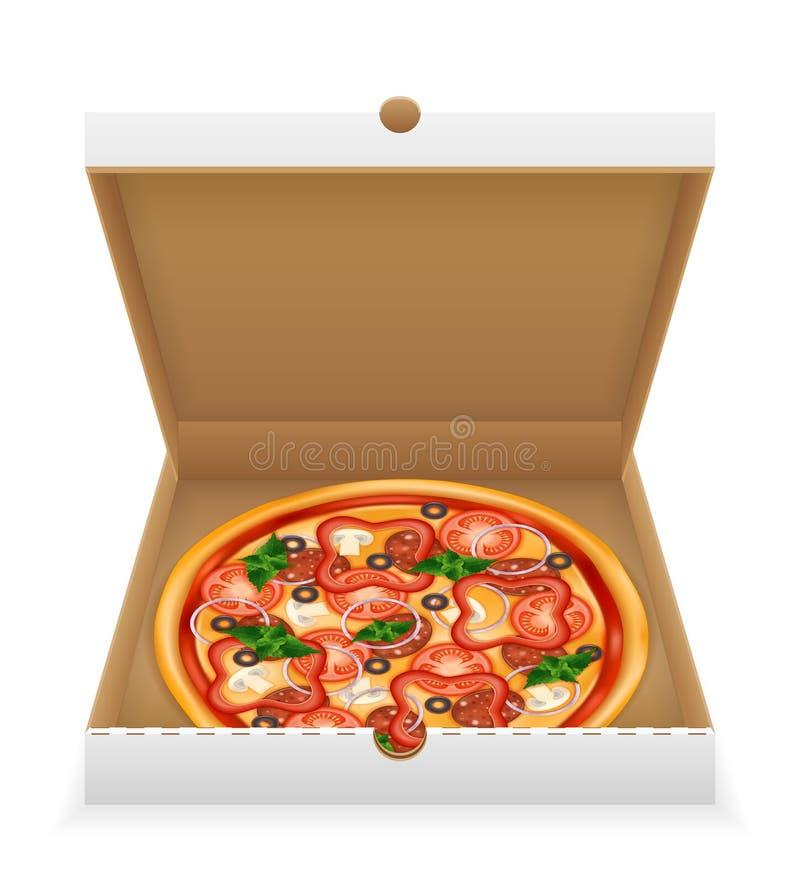 Pizza w karton wektorowej ilustracji odizolowywającej na białym tle ilustracji