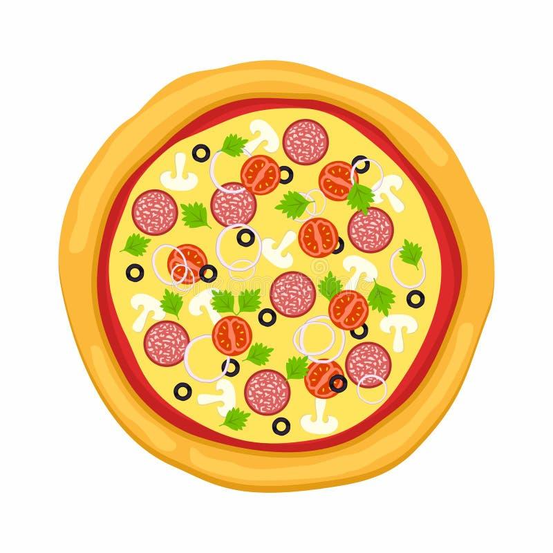 Pizza w mieszkanie stylu na białym tle Ikony jedzenia sylwetka również zwrócić corel ilustracji wektora royalty ilustracja