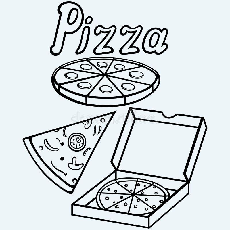 Pizza w rozpieczętowanym kartonie ilustracji