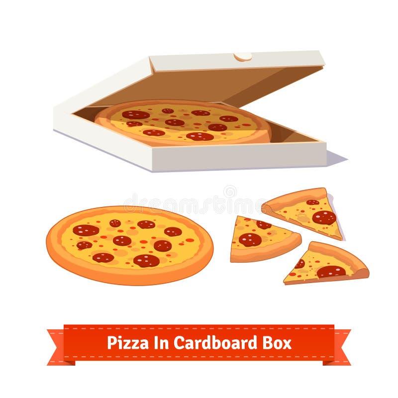 Pizza w rozpieczętowanym kartonie deliveryman ilustracji