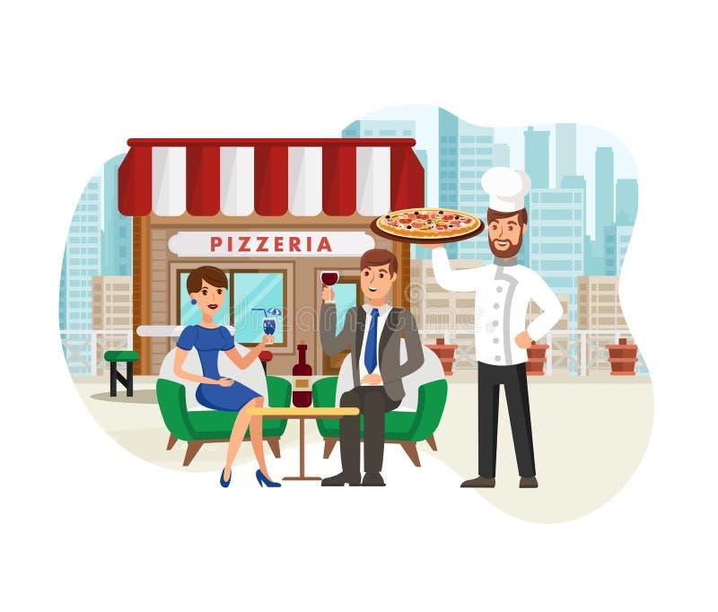 Pizza w Ulicznej Cukiernianej Płaskiej Wektorowej ilustracji ilustracji
