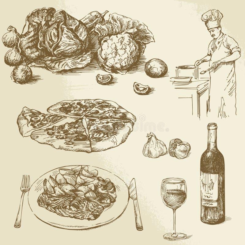Pizza, warzywa ilustracji