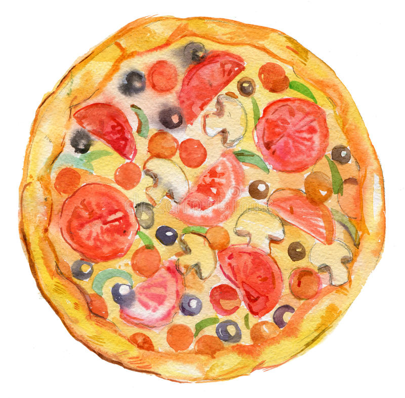 Pizza,watercolor illustration ,food royalty free stock photos