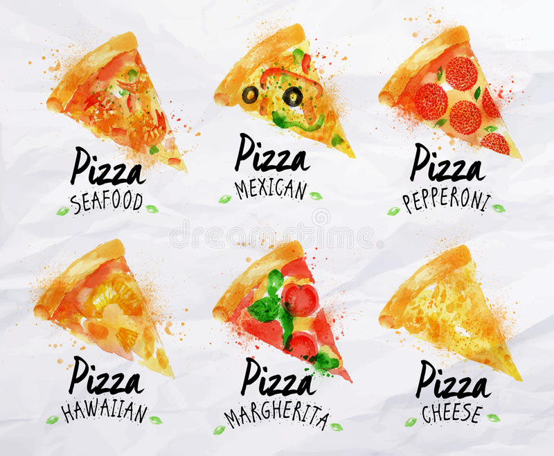 Pizza watercolor set. Hand drawn with stains and smudges pizza stock illustration