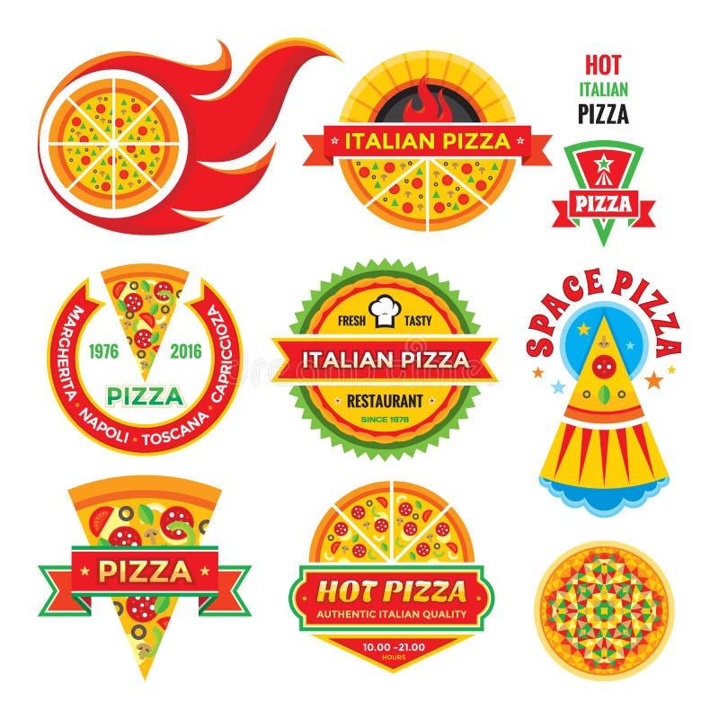 Pizza - wektorowe odznaki ustawiać Pizza - wektor przylepia etykietkę kolekcję royalty ilustracja