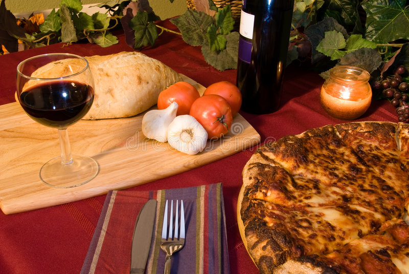 Pizza wine and Italy stock images