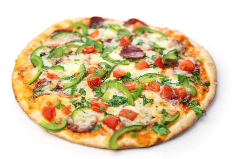 Pizza/witte achtergrond royalty-vrije stock afbeeldingen