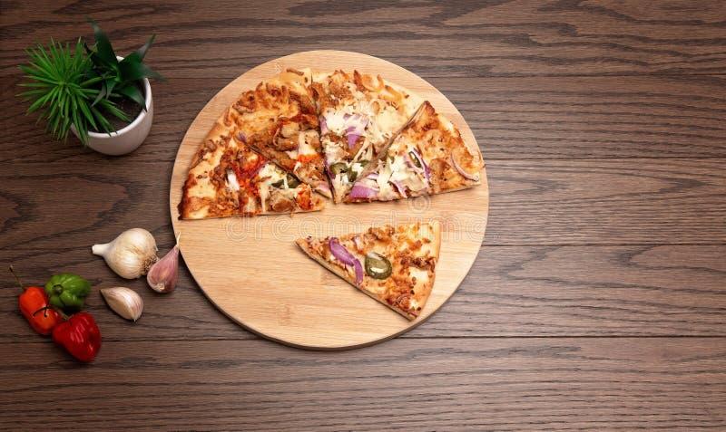 Tasty pizza flatlay royalty free stock photography