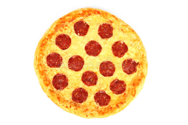 Pizza on wooden round board royalty free stock photos