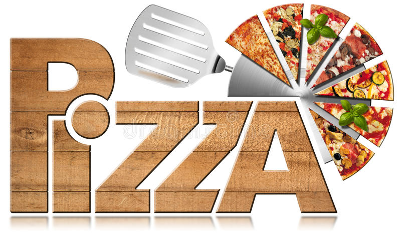 Pizza - Wooden Symbol with Slices of Pizza. Wooden icon or symbol with text Pizza, stainless steel pizza cutter and slices of pizza. on a white background. 3D vector illustration