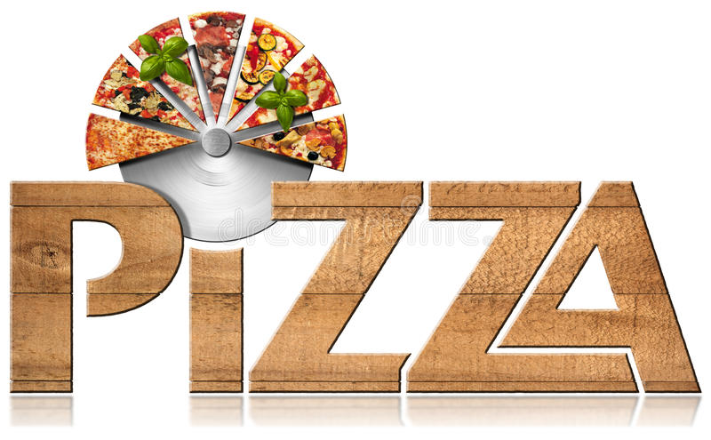 Pizza - Wooden Symbol with Slices of Pizza. Wooden icon or symbol with text Pizza, stainless steel pizza cutter and slices of pizza. on a white background. 3d stock illustration
