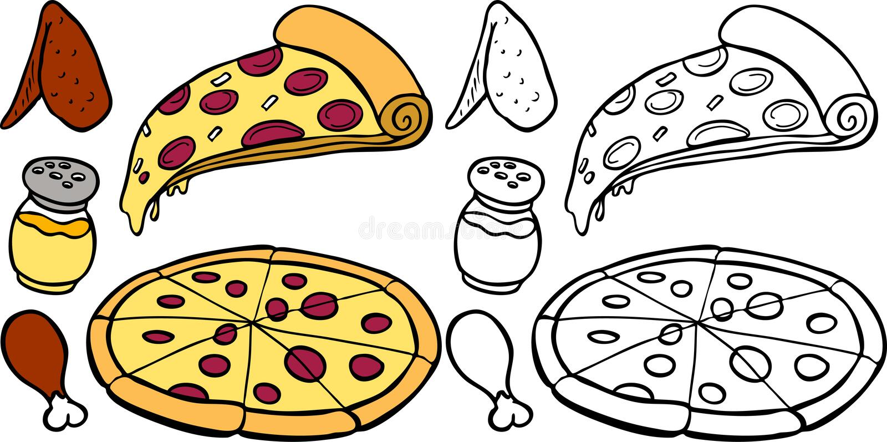 Pizza y alas ilustración del vector