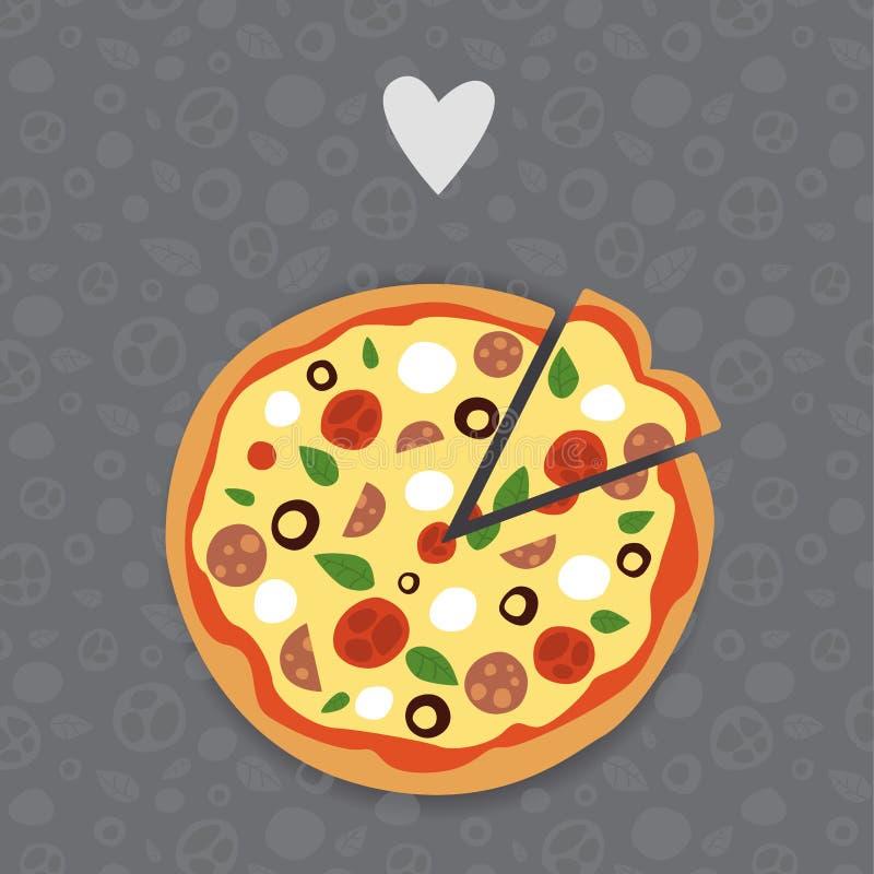 Pizza y rebanada de la pizza con los tomates salami y mozzarella Vector de la pizza en fondo inconsútil ilustración del vector