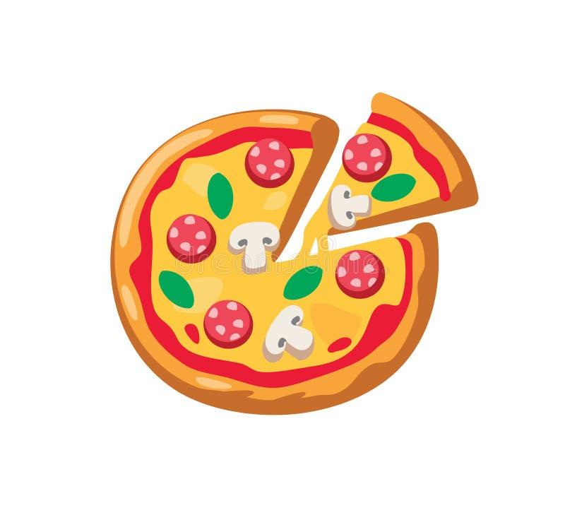Pizza y rebanada del vector libre illustration