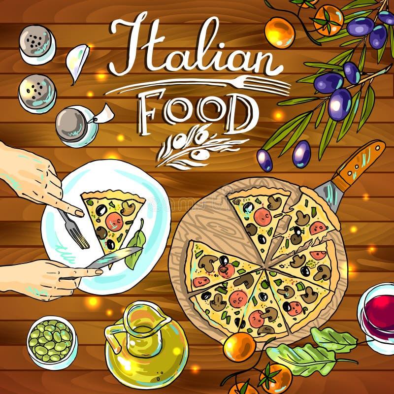 Pizza y verduras ilustración del vector