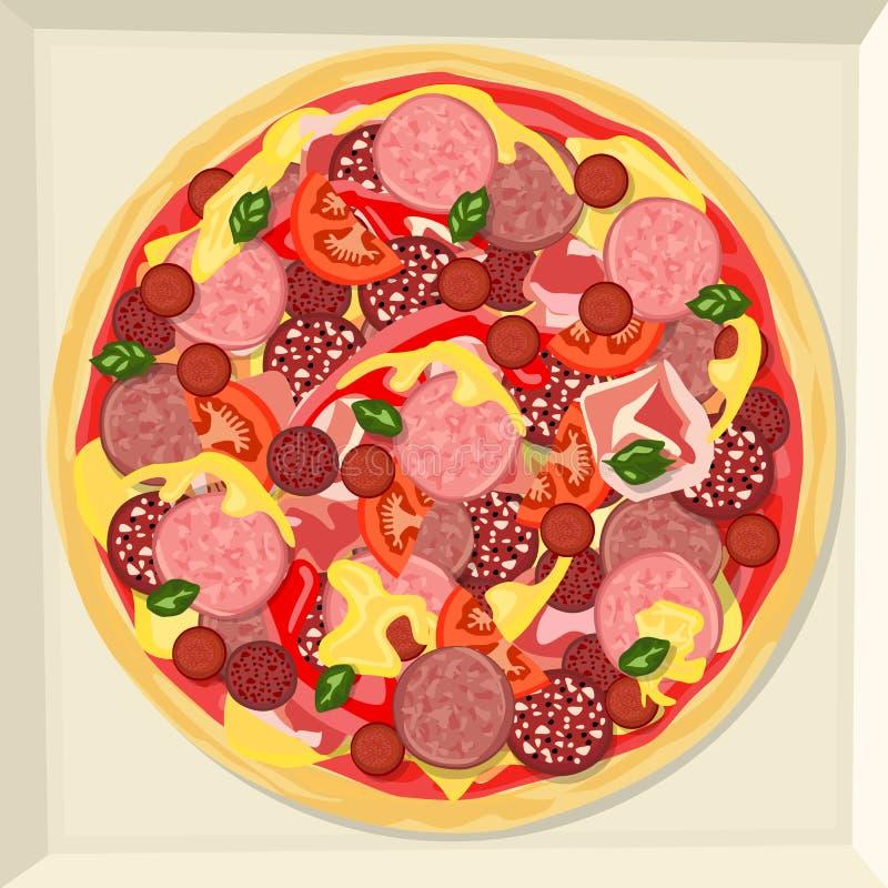 Pizza z baleronem, różnorodne rozmaitość kiełbasa, ser, ketchup, warzywa i ziele, royalty ilustracja