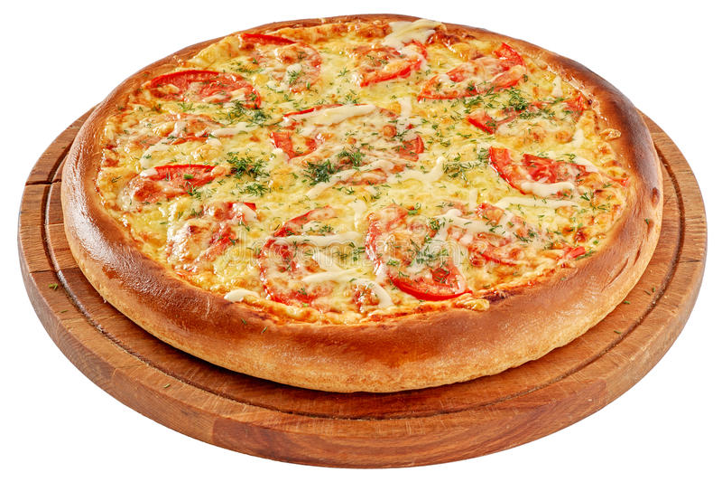 Pizza z korzennym kurczakiem i pomidorami zdjęcie royalty free