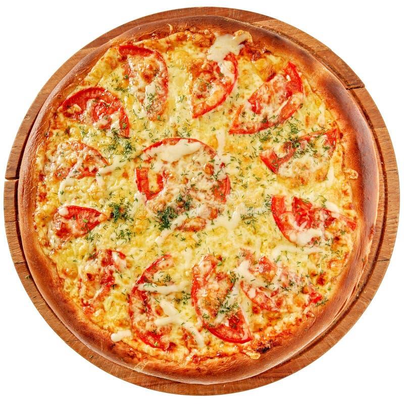 Pizza z korzennym kurczakiem i pomidorami zdjęcia royalty free