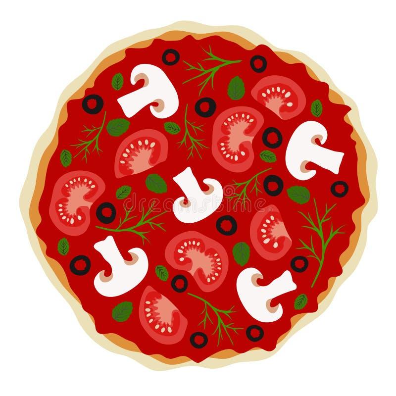 Pizza z pieczarkami i pomidorami w wektorze ilustracja wektor