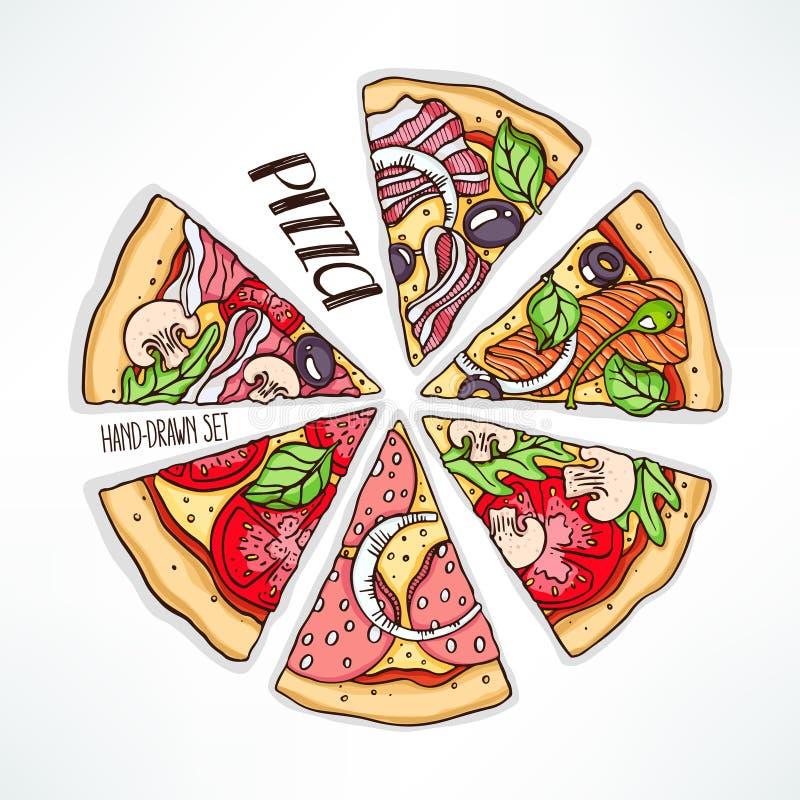 Pizza z różnorodnym farszem royalty ilustracja