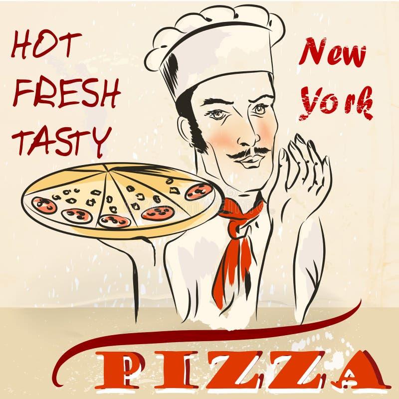 Pizzaaffisch med uppassaren eller kocken som rymmer varm ny New York pizz vektor illustrationer