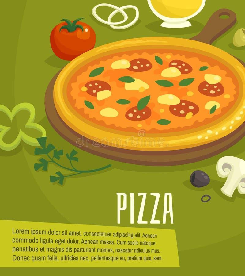 Pizzaaffisch, menyorienteringsmall, vektorillustration vektor illustrationer