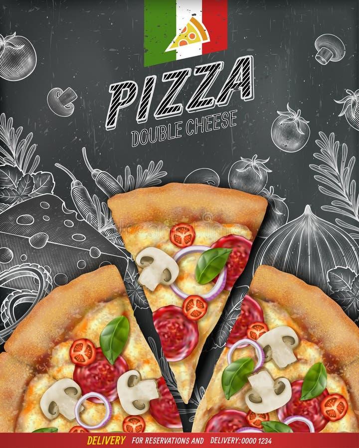 Pizzaaffischannonser royaltyfri illustrationer