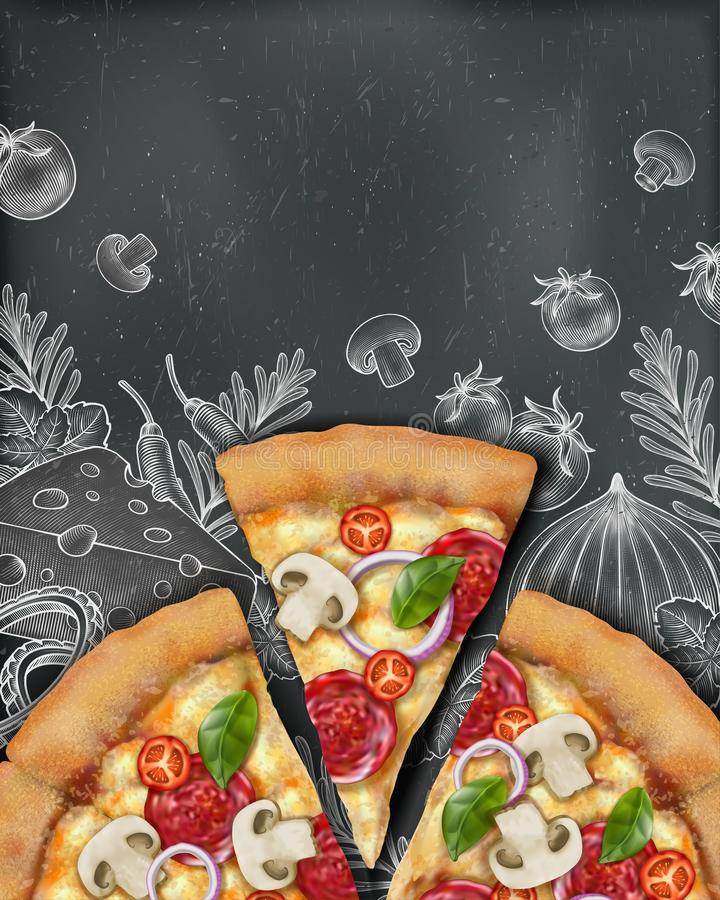 Pizzaaffischannonser vektor illustrationer