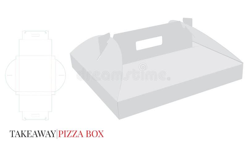 Pizzaask med handtaget, ask för leverans för pappsjälvlås Vektorn med stansat/laser klippte lager royaltyfri illustrationer