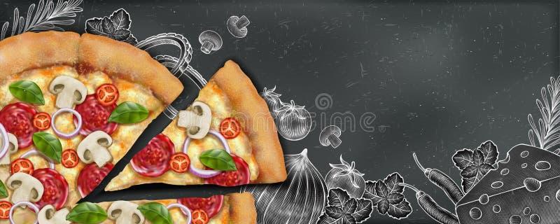 Pizzabanerannonser royaltyfri illustrationer