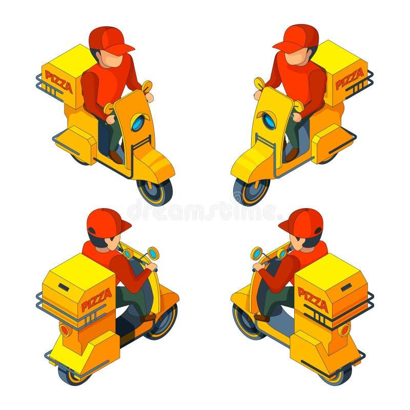 Pizzabote auf Fahrrad Vector isometrisch einige Ansichten des Pizzalieferungscharakters lizenzfreie abbildung