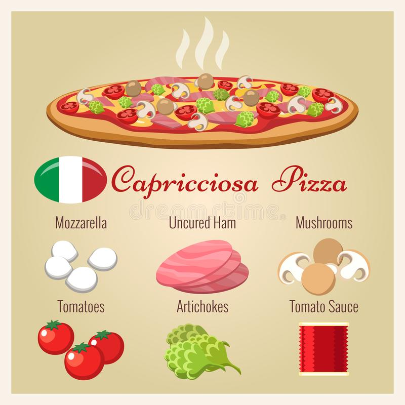 Pizzacapricciosa met ingrediënten vector illustratie