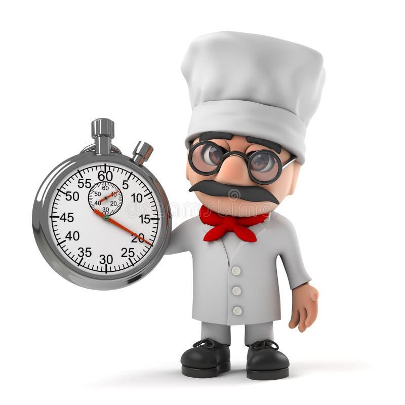 Pizzachef-Charakterzeiten der lustigen Karikatur 3d italienische mit einer Stoppuhr lizenzfreie abbildung
