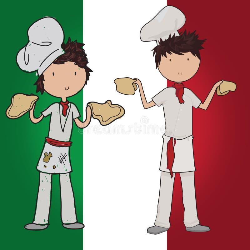 Pizzachef-kok stock illustratie