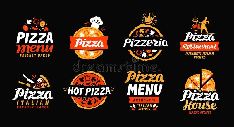 Pizzaembleem Inzamelingsetiketten voor het restaurant of de pizzeria van het menuontwerp Vector pictogrammen
