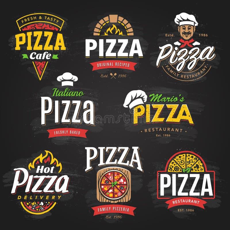Pizzaemblemuppsättning stock illustrationer