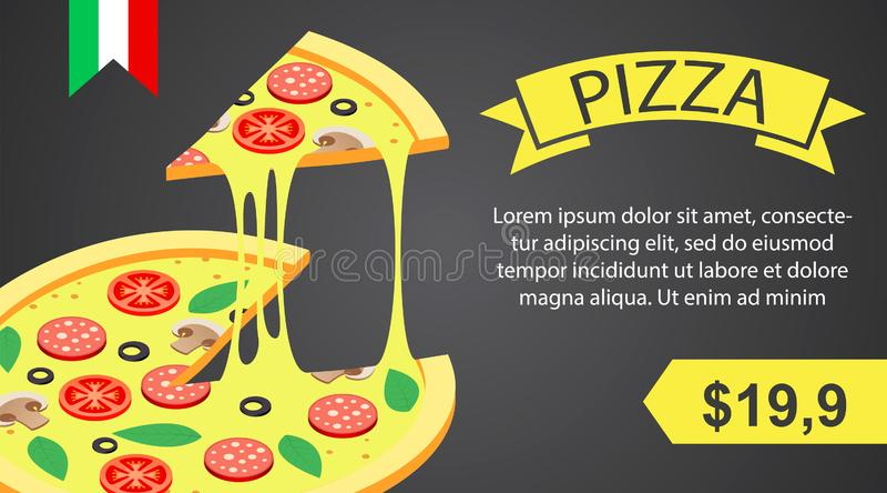 Pizzafahne horizontal, isometrische Art stock abbildung