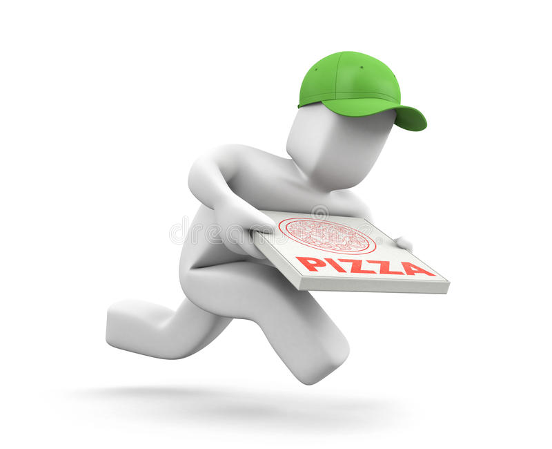 Pizzahandelaar met de looppas van pizzadozen aan haast om een pizza te leveren royalty-vrije illustratie