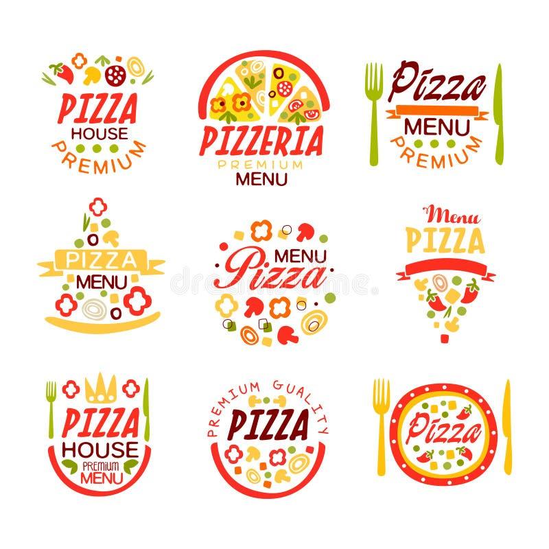 Pizzahus, för menylogo för pizzeria högvärdig uppsättning för mallar av färgrika vektorillustrationer royaltyfri illustrationer