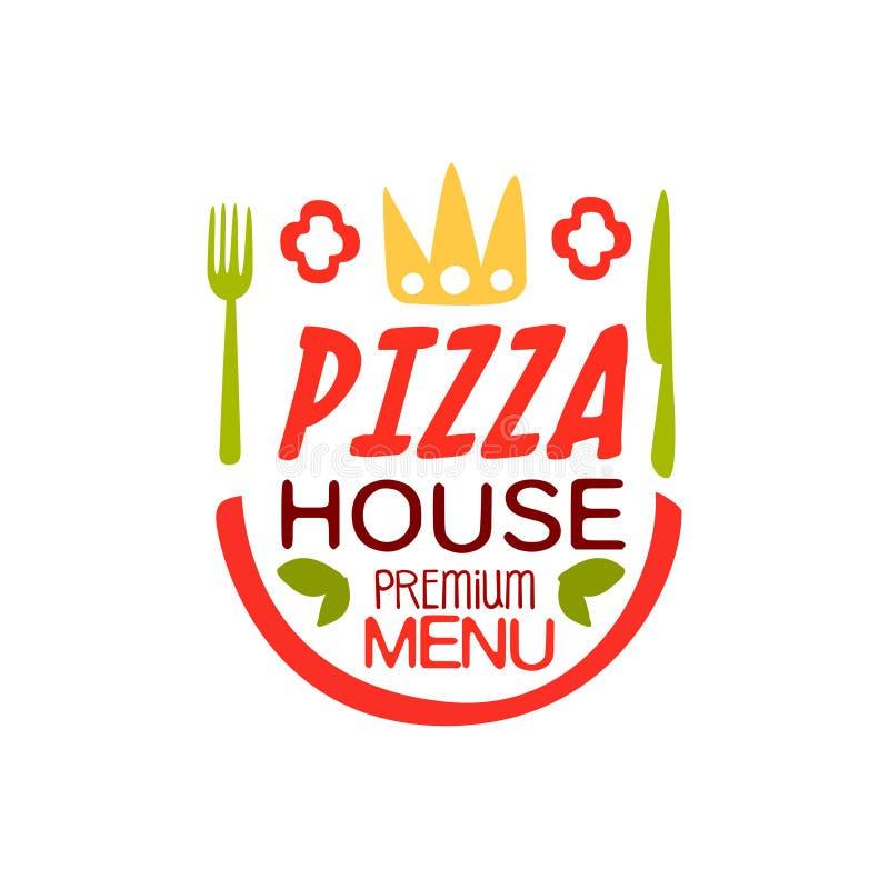 Pizzahus, illustration för vektor för design för mall för ppremiummenylogo färgrik vektor illustrationer