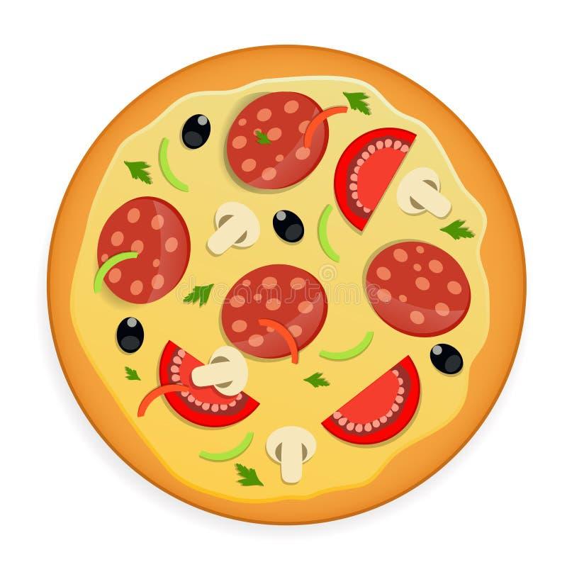 Pizzaikonen-Vektorillustration. stock abbildung