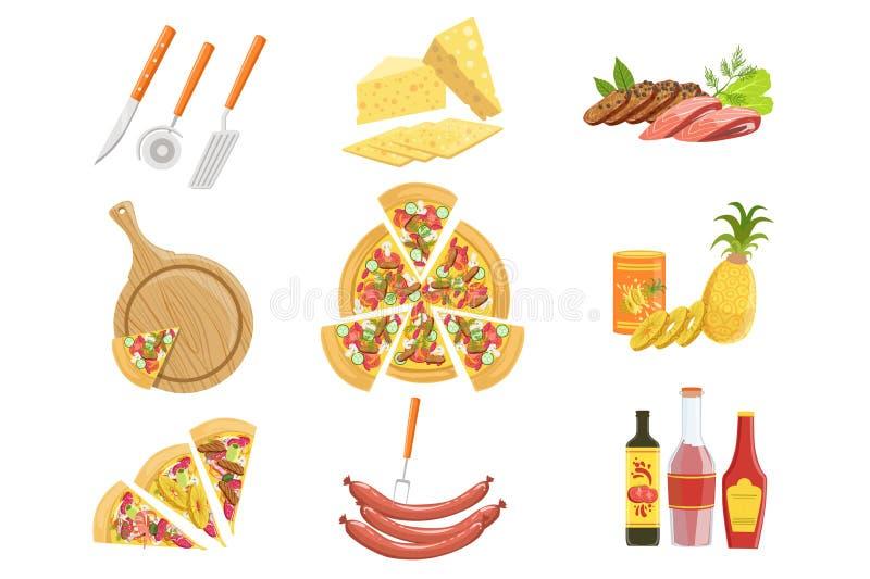Pizzaingrediens- och för matlagningredskap samling Vektorillustration i realistisk förenklad stil stock illustrationer