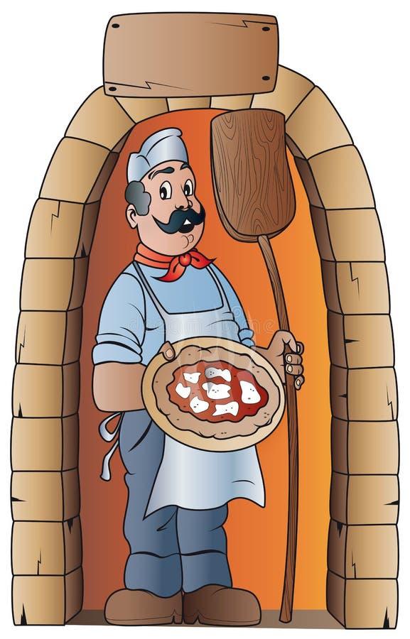 pizzaiolo con pizza e la pala di legno fotografia stock libera da diritti