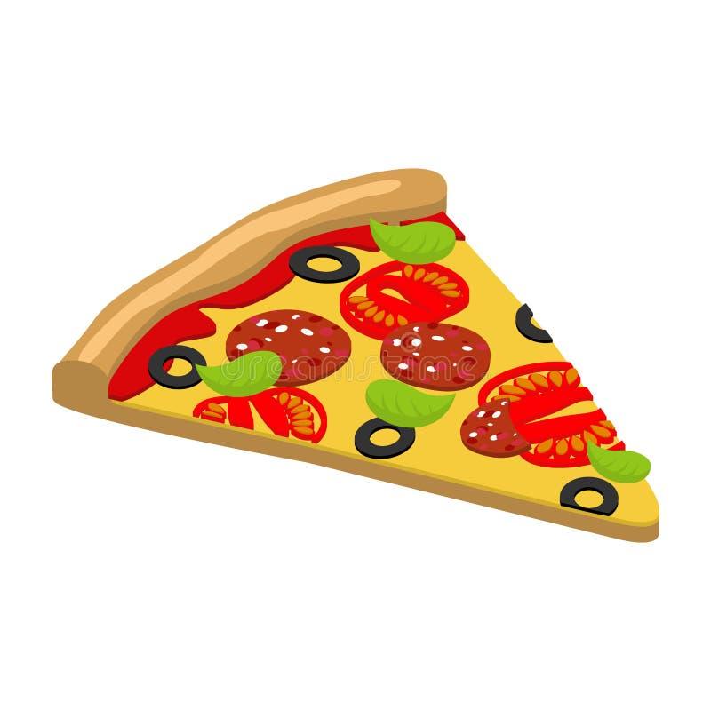 Pizzaisometrics mat för italienare 3D Läcker ny skiva av pizz stock illustrationer