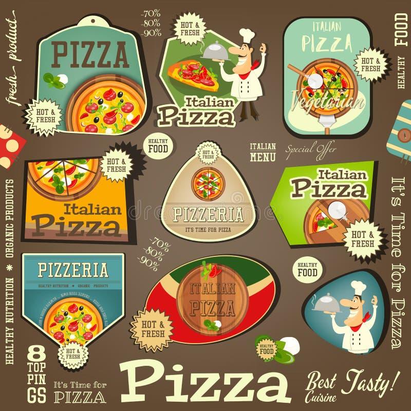 Pizzaklistermärkeuppsättning royaltyfri illustrationer