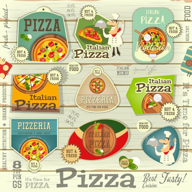 Pizzaklistermärkeuppsättning vektor illustrationer