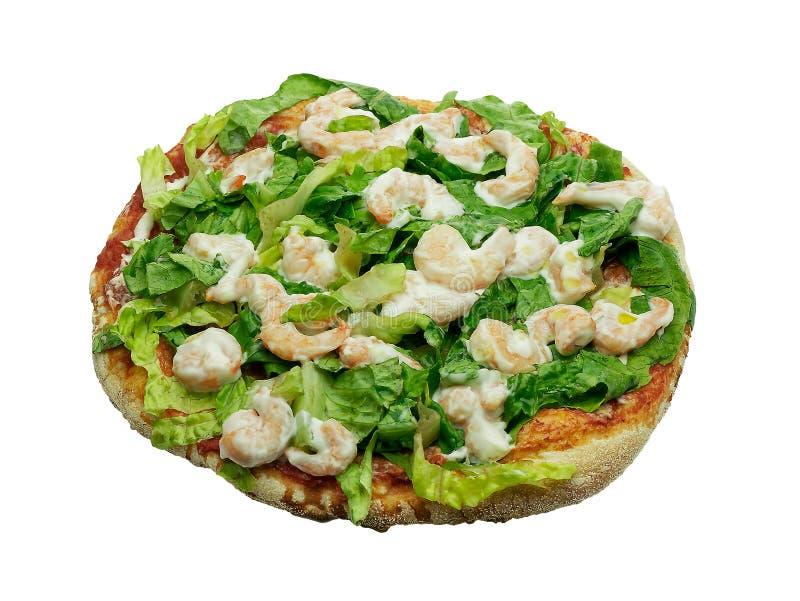 Pizzakopfsalatgarnelen und -mayonnaise lokalisiert auf Weiß stockbild