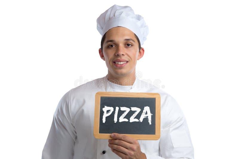 Pizzalebensmittelkoch, der das Brettzeichen lokalisiert kocht stockfotos