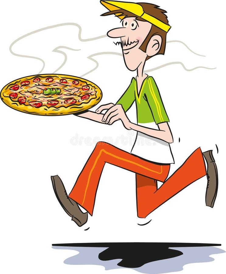 Pizzaleverans royaltyfri illustrationer